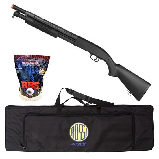 Shotgun Airsoft M58A 400 FPS com 4000 Munições BBs e Case Mala ActionX
