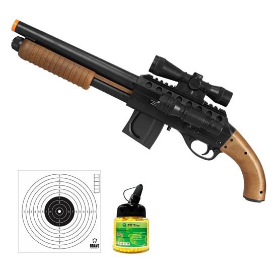 Shotgun Airsoft Mossberg M3000 com 10 Alvos Papel Bravo Militar e 1000 Munições BBs