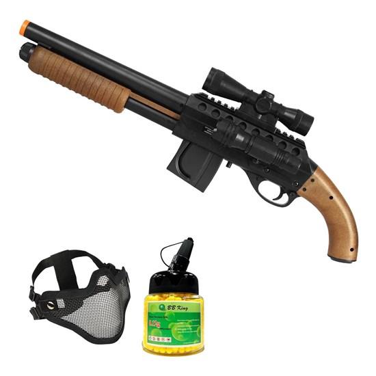 Shotgun Airsoft Mossberg M3000 com Máscara Meia-face Nautika e 1000 Munições BBs