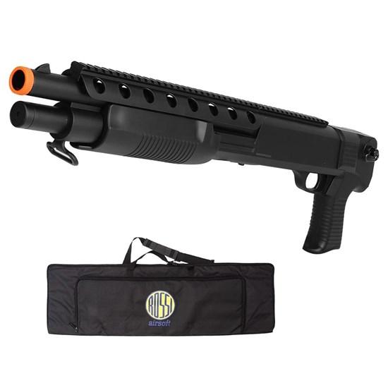 Shotgun M309 Airsoft 6mm Spring 400 FPS com Suporte para Bandoleiras + Case Mala ActionX