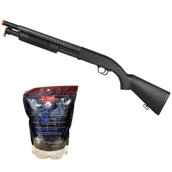Shotgun M58A Airsoft 400 FPS Spring com Magazine + Munições BBs 0,20g BB King 4000 Un
