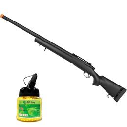 Sniper Airsoft M24 Rossi CM702 SWS Preto + Esfera Plástica BB King BB Airsoft 1000 Un