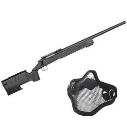 Sniper Rifle Airsoft Double Eagle M62F 420 FPS + Máscara Meia-face Nautika