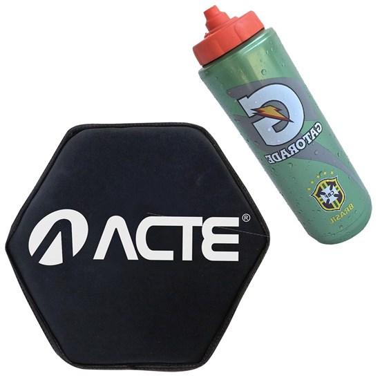 Squeeze Gatorade 1L Seleção Brasileira + Disco de Peso Acte Sand Bell 4KG