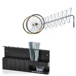 Suporte Parede Exposição Rodas + Suporte Organizador de Raios Bike Altmayer