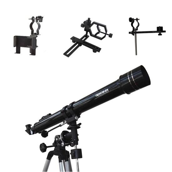 Telescópio Refrator Equatorial 900X70mm Greika + Adaptadores de Câmeras e Smartphones