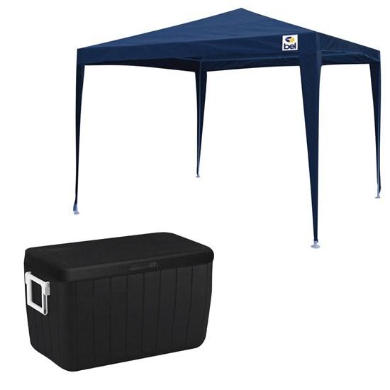 Tenda Gazebo 2x2m Belfix Desmontável Azul + Caixa Térmica 45,4L All Black