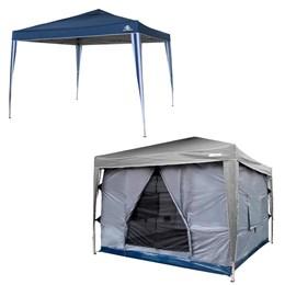 Tenda Gazebo 3x3 metros Articulado Guepardo Pratiko Azul com Parede Impermeável Nautika Transform
