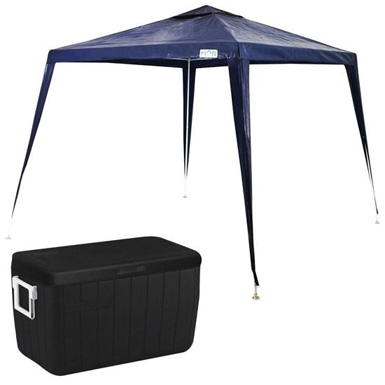Tenda Gazebo Ráfia 3x2,4m Mor Azul + Caixa Térmica 45,4 Litros Coleman All Black