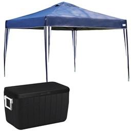 Tenda Gazebo X-flex 3 x 3 M MOR Azul + Caixa Térmica 45,4 L 48 QT Preto com Alça
