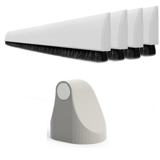 Trava Porta Magnético Branco + 4 Veda PortaS Adesivo 80cm