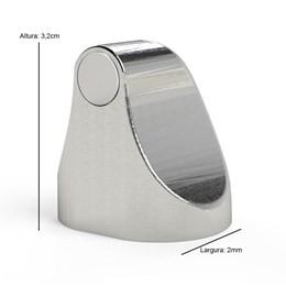 Trava Porta Magnético Cromado + Veda Porta Adesivo 80 cm